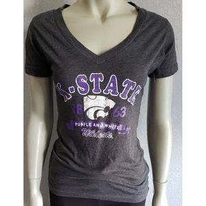 NWOT Kansas State Wildcats Small Gray Faded Tee